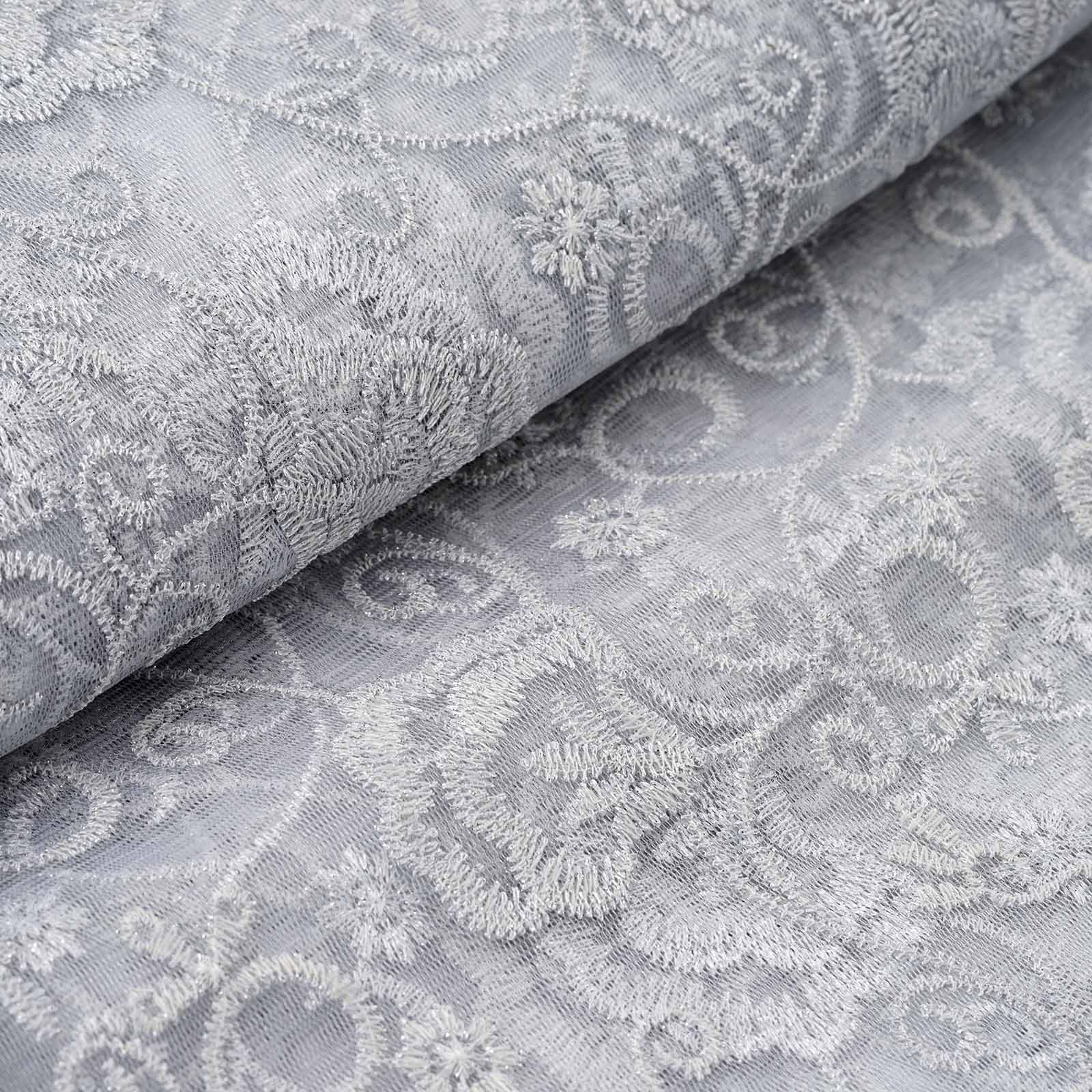 "Efavormart 54"" x 4 yards Silver Carnations Embroidered Tulle Fabric Bolt Craft Sewing SALE"