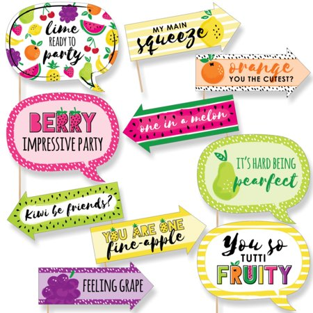 Funny Tutti Fruity - Frutti Summer Baby Shower or Birthday Party Photo Booth Props Kit - 10 Piece (Summer Birthday Party Ideas For Adults)
