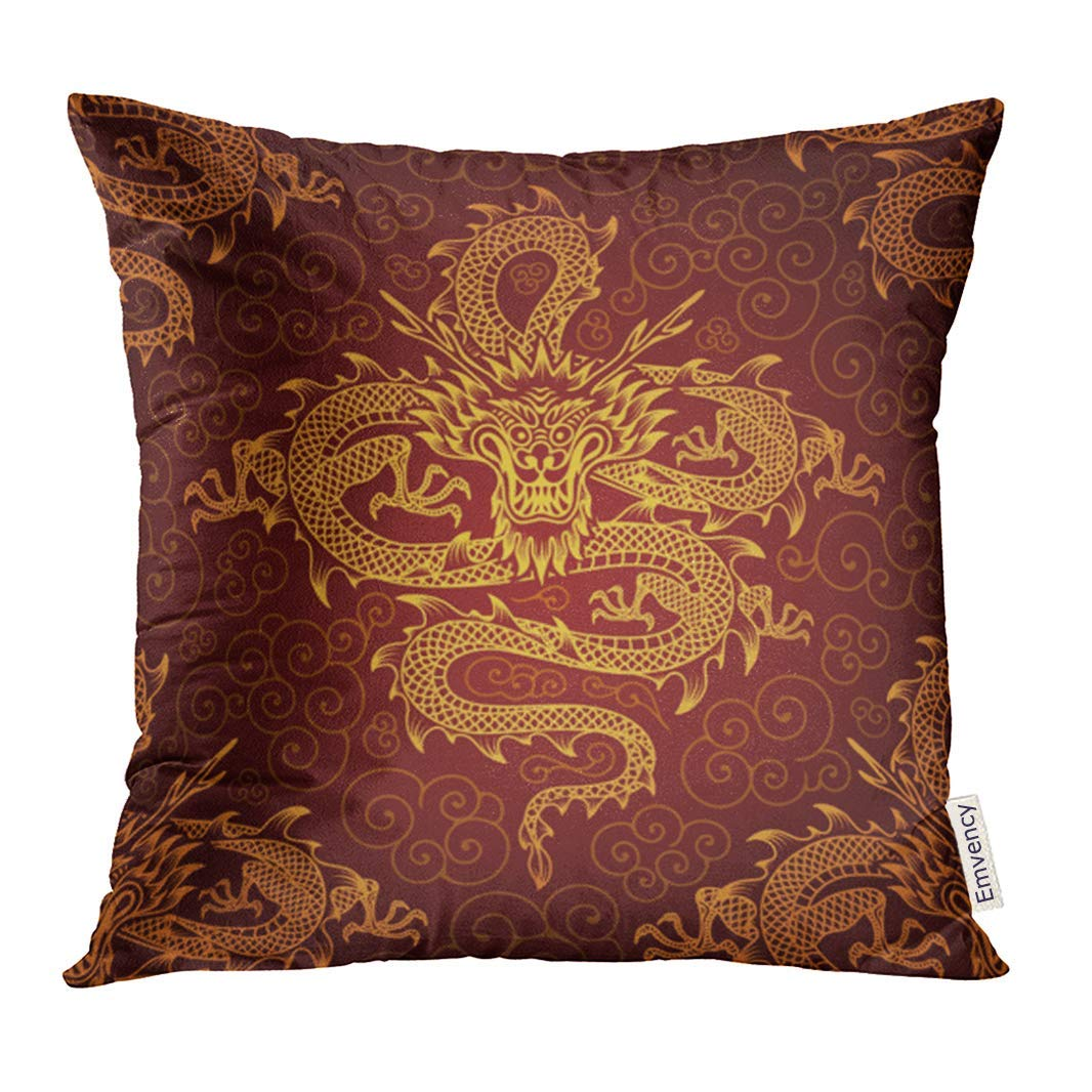 USART Yellow Chinese with Dragons Asian Japanese Oriental Gold Pillow Case 16x16 Inches Pillowcase