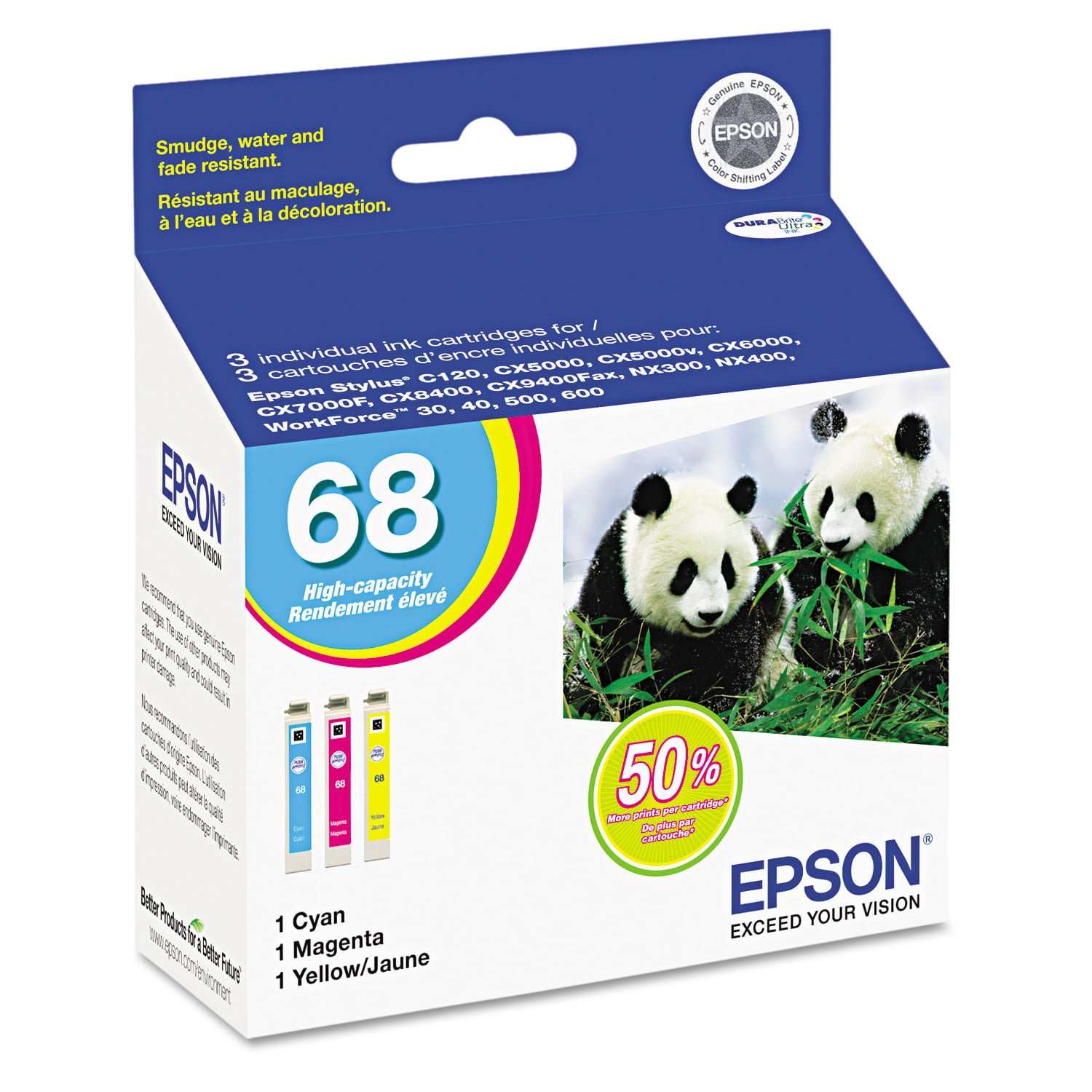 Epson T068520 (68) DURABrite High-Yield Ink, Cyan Magenta Yellow, 3 PK by Epson