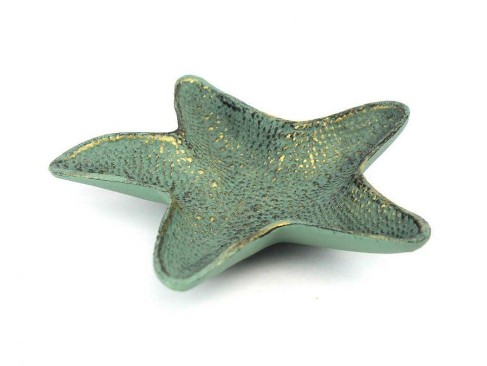 "Antique Bronze Cast Iron Starfish Decorative Bowl 8"" Decorative Cast Iron Bowl Starfish Decoration by Hampton Nautical"