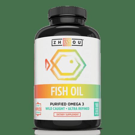 Zhou Nutrition Purified Omega-3 Fish Oil Softgels, 1600 Mg, 180 Ct