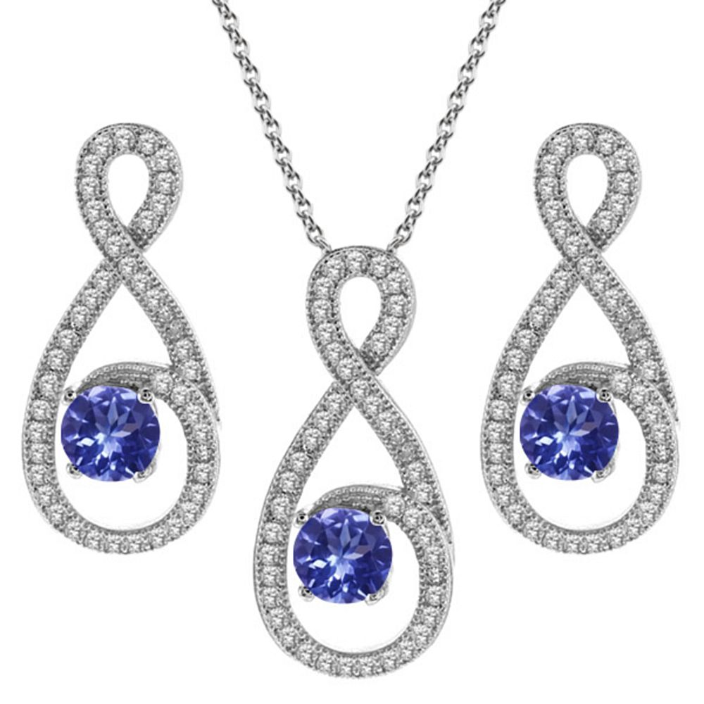 3.18 Ct Round Blue Tanzanite 925 Sterling Silver Pendant Earrings Set