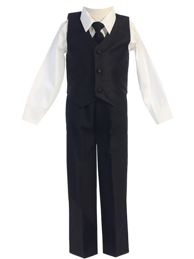 Little Boys Black Poly Silk Vest Tie 4 Pcs Special Occasion Set 2T