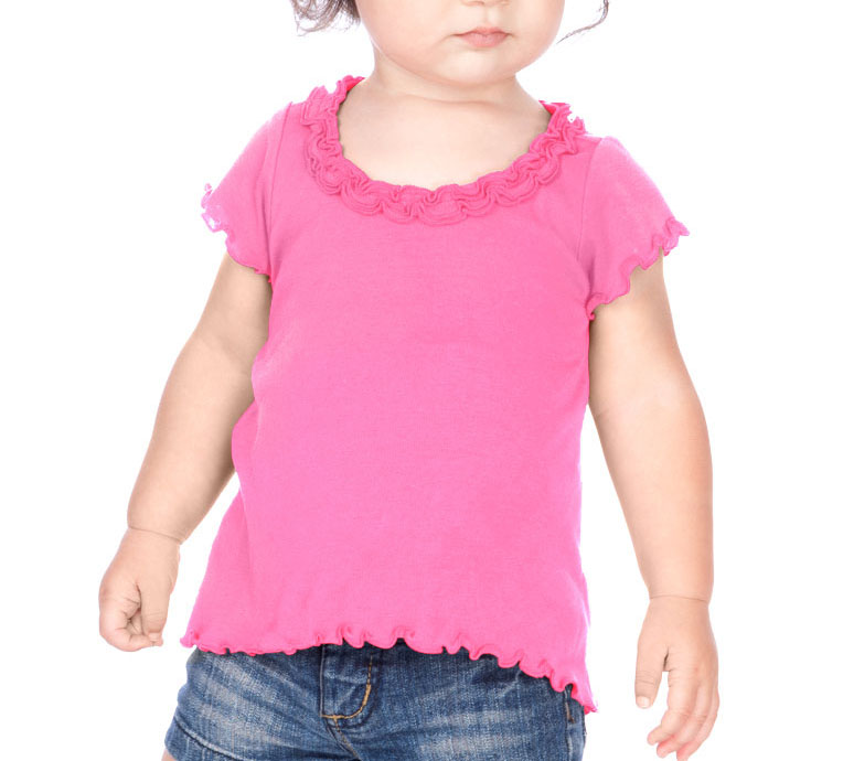 Kavio Little Girls Lettuce Edge High Low Short Sleeve T Shirt in Sizes 6M to 6X
