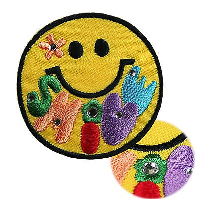 Lily Smiley Happy Face Rhinestone Self Adhesive Embroidered Applique (Self Adhesive Appliques)