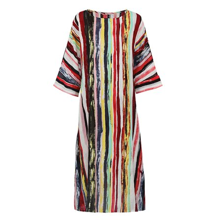 Vintage Women Dress Colorful Stripes 3/4 Batwing Sleeve Pockets Maxi Gown Loose Vacation Wear