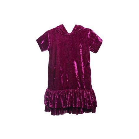 Kids Dream Girls Eggplant Velvet Hooded Back To School Dress