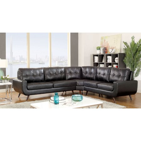 Mid-Century Modern Retro Tufting Leather gel Black U-shaped Base Plush  Cushon Sectional Couch Wedge Chaise Tapered Wooden Legs