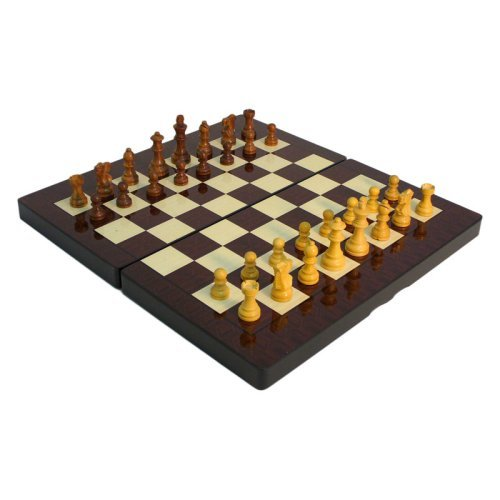 15 in. High Gloss Wood Grain Folding Chess and Backgammon Set