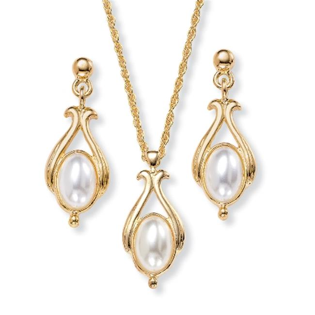 PalmBeach Jewelry 4208_ Oval-Shaped Simulated Pearl 14k Yellow Gold-Plated Drop Pendant and Earrings Set 18''