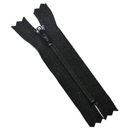 "2 1/2"" Doll Zipper YKK #3 Skirt & Dress Zippers Nylon Coil Closed End 580 Black (50 Zippers/pack)"