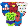 Marvel Baby Boys' 5 Pack Bodysuits - The Hulk, Spiderman, Iron Man and Captain America (3-6 Months)