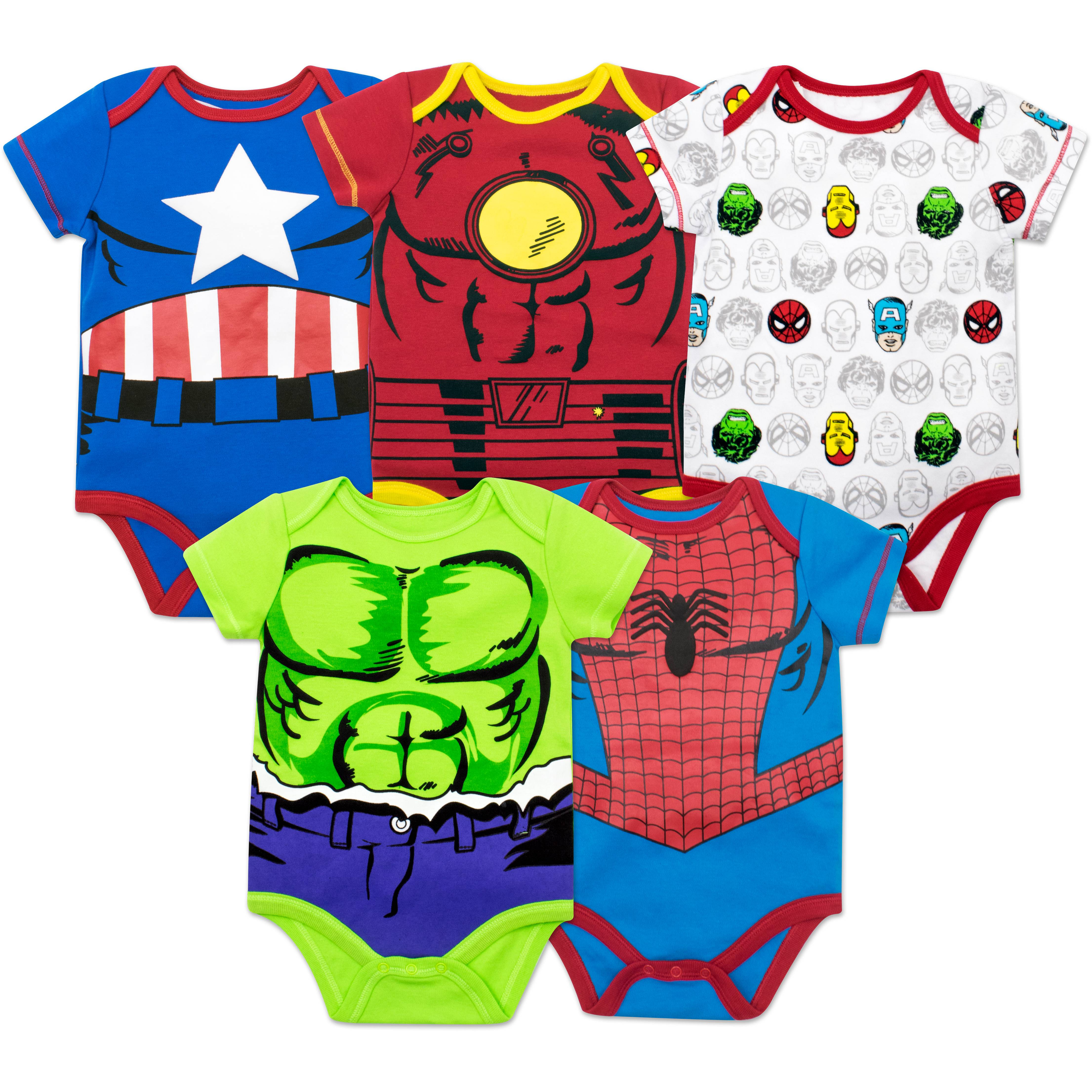 Marvel Baby Boys' 5 Pack Bodysuits - The Hulk, Spiderman, Iron Man and Captain America (0-3 Months)