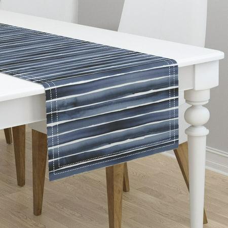 Table Runner Stripe Watercolor Blue Navy Indigo Cotton Sateen