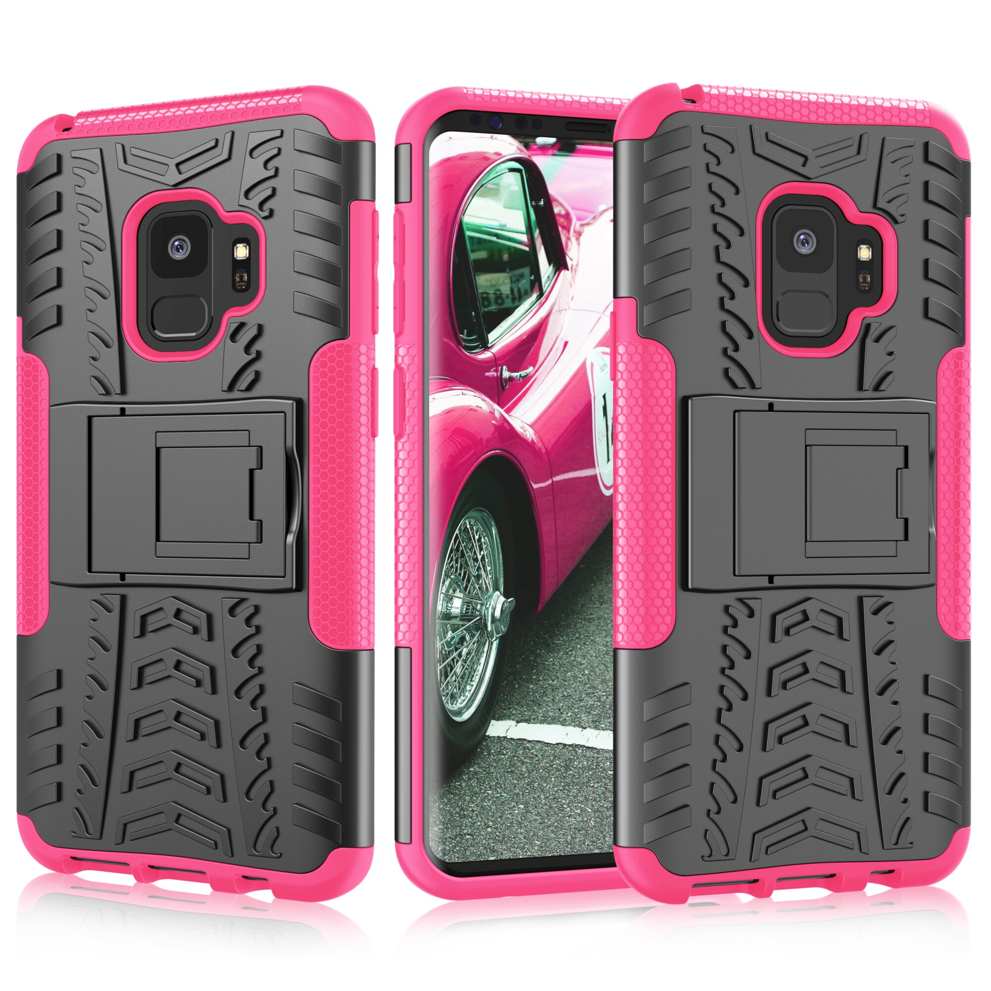 Galaxy S9 Case, Samsung S9 Kickstand, Galaxy S9 Cover, Njjex [Built-in Kickstand][Non-slip Design] Hybrid Full-body Rugged [Shock Proof] Protection Cover For Samsung Galaxy S9 -Hot Pink