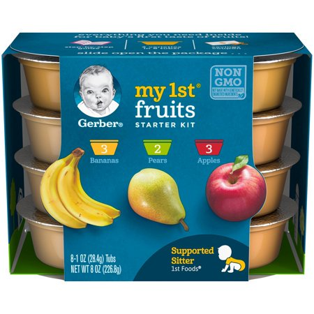 (3 Pack) Gerber My 1st Fruits Baby Food Starter Kit, 1 oz. Tubs, 8 Count