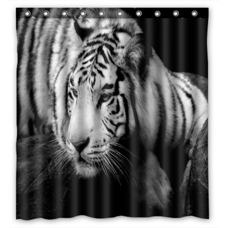 Clemson Tigers Shower Curtain - PHFZK Animal Shower Curtain, Lazy Siberian Tiger Black and White Polyester Fabric Bathroom Shower Curtain 66x72 inches