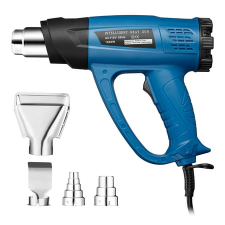 1800W Hot Air Gun, Heat Gun Variable Temperature, two-Temp Settings Power Tool Kit With 4 Nozzles for Removing Paint, Bending Pipes, Plastic, Stickers, Floor Tiles, Light (Variable Temperature Electronic Heat Gun)