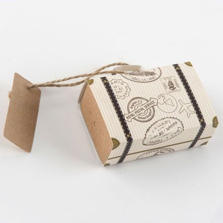20Pcs Travel Theme Mini Suitcase Candy Box Kraft Paper Container Wedding Favor - 20s Themed Wedding