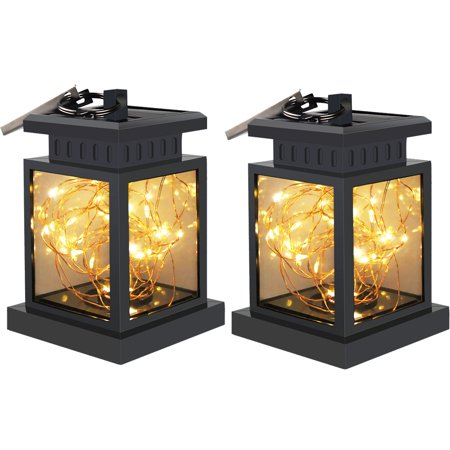 Copper Porch Light (TOPCHANCES Outdoor Solar Hanging Lights, Solar Lanterns Waterproof IP55 with Fairy Lights Copper Wire lights for Garden Patio Umbrella Lamp Tree Pool Pavilion Lawn Porch Decor (2/4 PACK) )