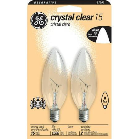 GE Lighting 87840 15 Watt Decorative Blunt Tip 2 Count Chandelier Light Bulb - Decorative Chandelier