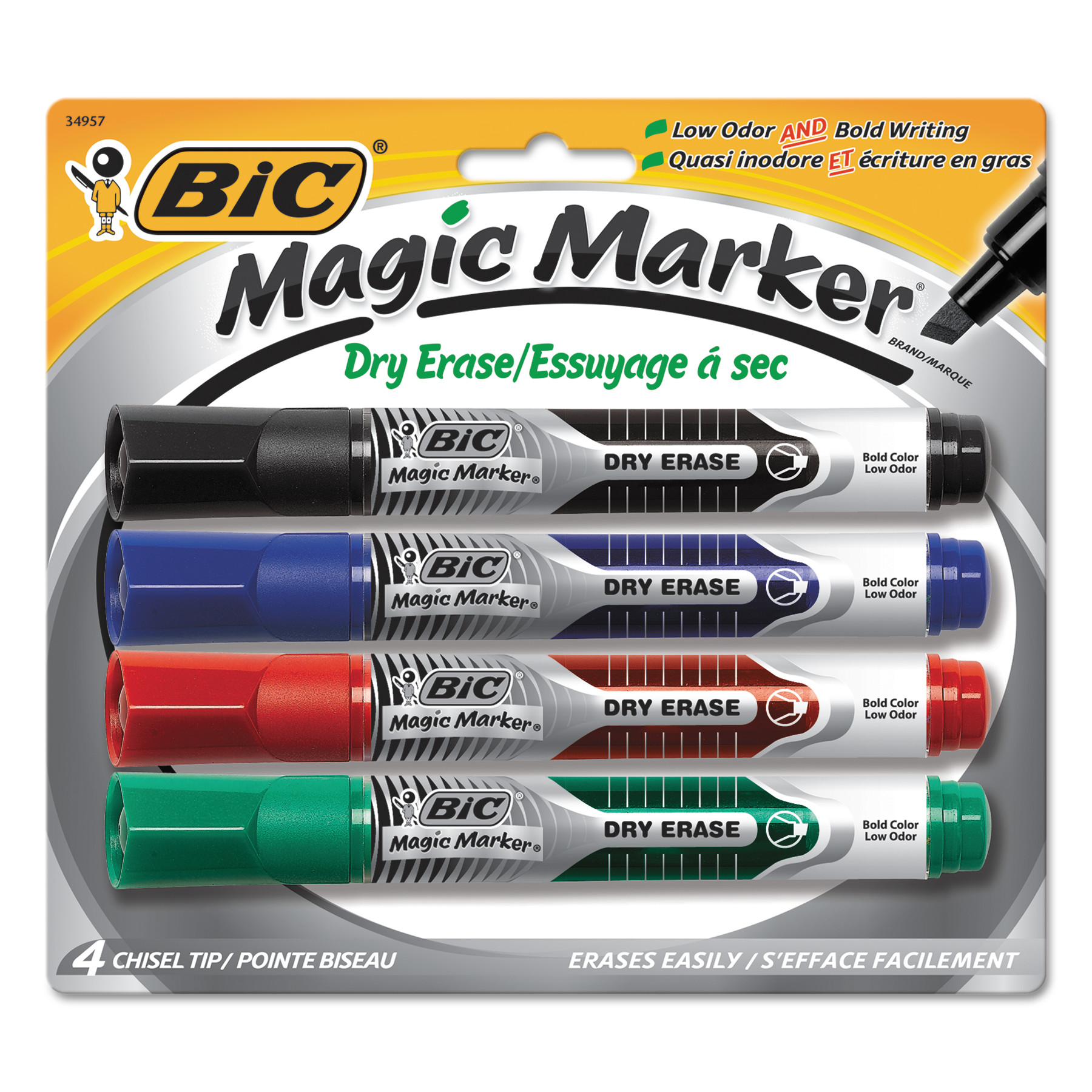 BIC Low Odor and Bold Writing Dry Erase Marker, Chisel Tip, 4/Pack