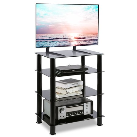 Rfiver Media Stand Audio Video Component Cabinet with Glass Shelf for /Apple TV/Xbox One/Gaming Consoles/ Streaming Device Shelve Audio Stand