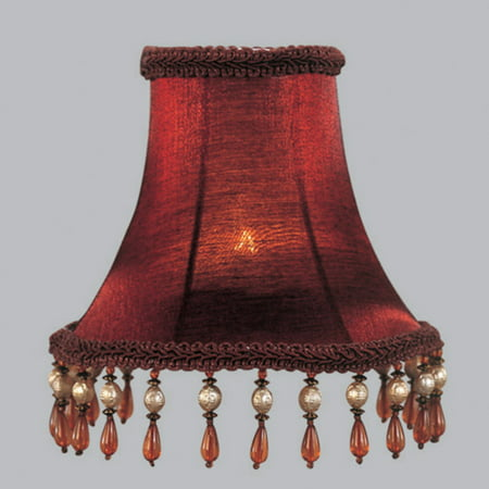 Livex Lighting Red Silk Bell Clip Shade with Amber (Am Amber Shades)