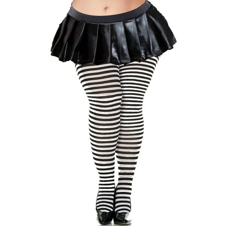 Lacy Line Plus Size Striped Tights