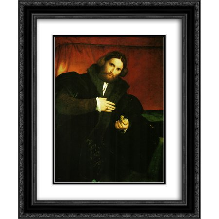 Lorenzo Lotto 2x Matted 20x24 Black Ornate Framed Art Print 'Portrait of a gentleman with lion - Lion Paw Print