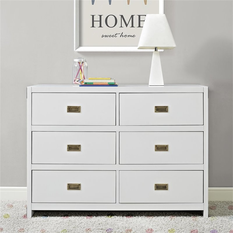Baby Relax Miles 6 Drawer Dresser in Classic White