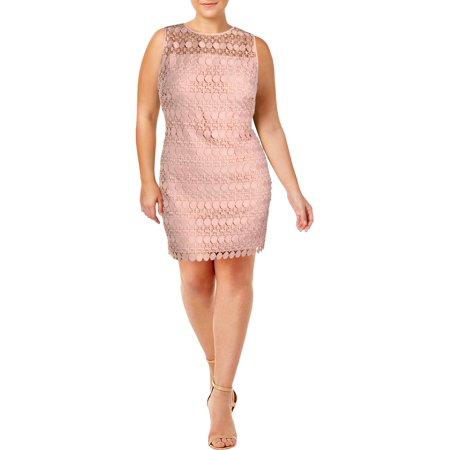 Lauren Ralph Lauren Womens Petites Lace Sleeveless Party Dress Pink 16P