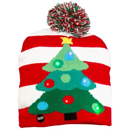Flashing Christmas Hats (Size one size Flashing Lights Holiday Christmas Beanie Cap, Christmas)