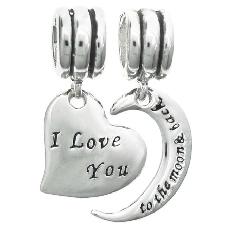 4dff5cc00 Queenberry - Sterling Silver ''I Love You to The Moon & Back'' Heart  European Style Dangle Bead Charm Set Fits Pandora - Walmart.com