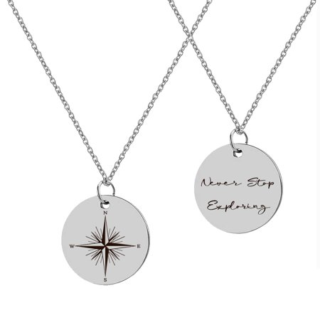 "Anavia ""Never Stop Exploring/ Compass"" Inspirational Stainless Steel Silver Disc Necklace 22mm Pendant Jewelry with Gift Box"