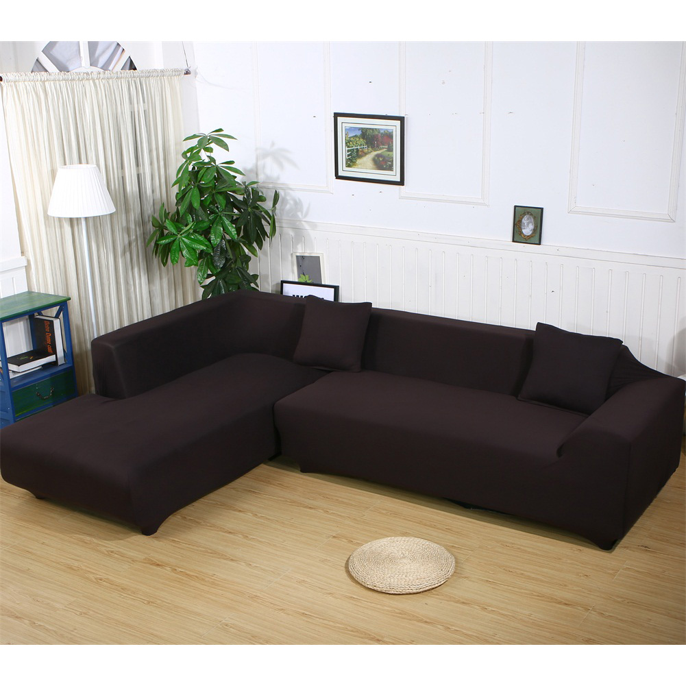 """ELEOPTION Sofa Covers for L Shape, 2pcs Polyester Fabric Stretch Slipcovers 3 seater(74""""-90"""") + 4 seater(90'-115"""") ,with 2pcs Pillow Covers for Sectional Sofa L-shape Couch"""