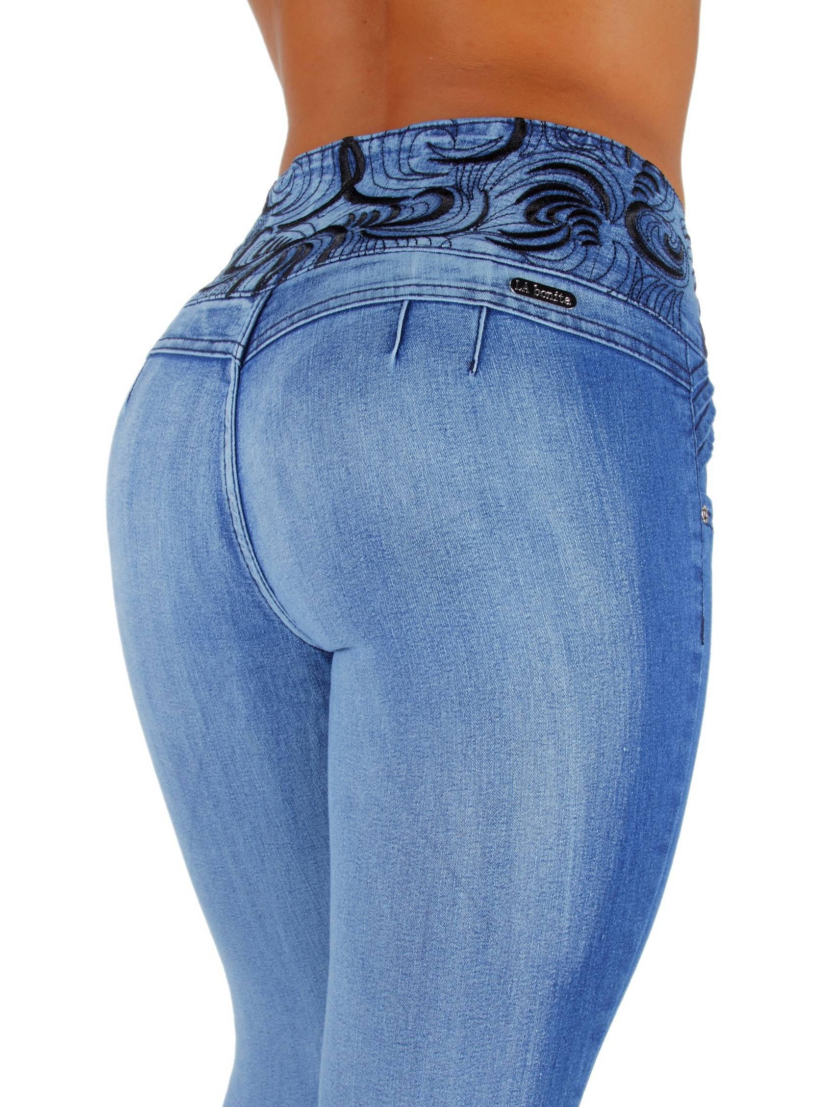 Style LA6A078MS - Plus Size, Mid Waist, Colombian Design, Butt Lift Skinny Jeans