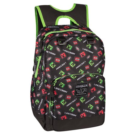 "JINX Minecraft Scatter Creeper Kids Backpack (Black, 17"") for School, Camping, Travel, Outdoors & Fun"