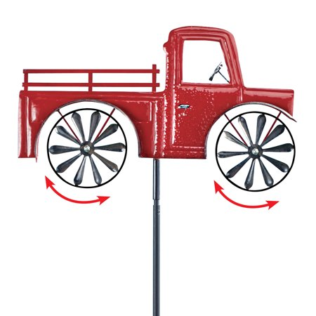 Vintage Red Pickup Truck Spinner Yard Stake, Old-Fashioned Rustic Charm, Outdoor Decorative Yard Accent