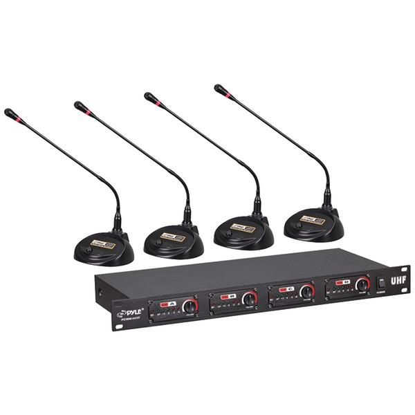 Pyle PDWM4650 Rack Mount 4-Channel Conference UHF Wireless Microphone System