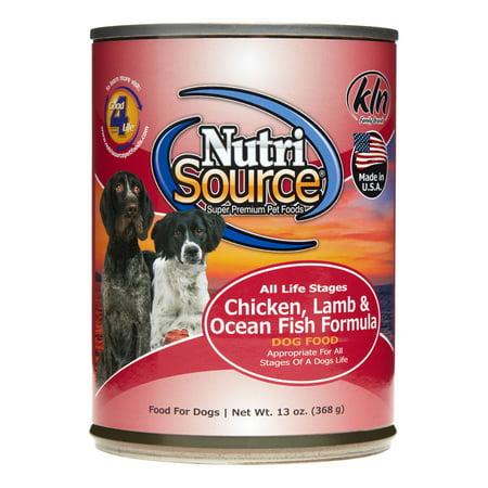 NutriSource Chicken, Lamb & Ocean Fish Formula Wet Dog Food, 13 oz, Case of 12