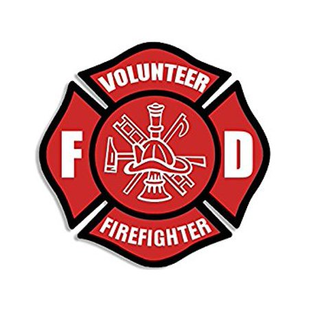 Red VOLUNTEER Firefighter Maltese Cross Sticker Decal (fire fighter fireman) Size: 4 x 4 inch