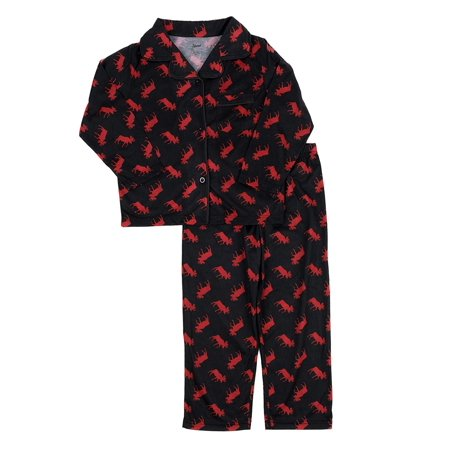 2 Piece Flannel Pajama Set (Leveret Kids Pajamas Flannel Pajamas Boys & Girls 2 Piece Christmas Pajama Set Black Moose 6)
