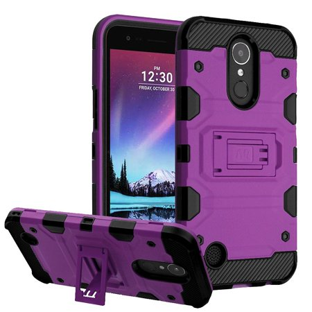 LG K20 Plus case, LG K10 2017 case, LG K20 V phone case, by Insten Storm Tank Hybrid Dual Layer Stand PC/TPU Case For LG K20 Plus / K20 V / Harmony / K10 (2017) - Purple/Black