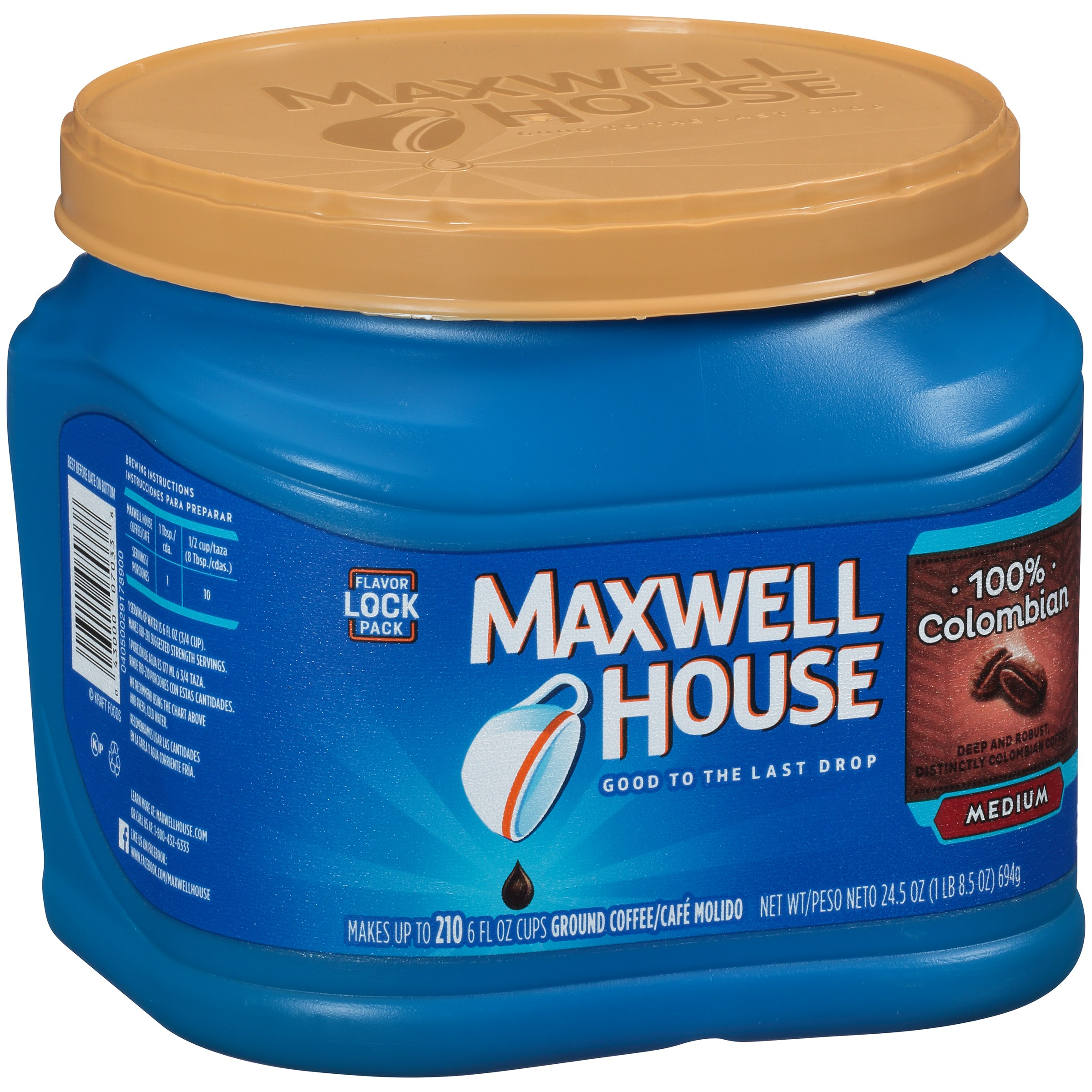 Maxwell House 100% Colombian Ground Coffee 24.5 oz. Tub
