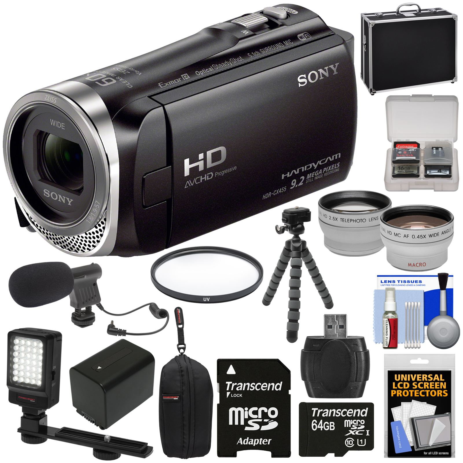 Sony Handycam HDR-CX455 8GB Wi-Fi HD Video Camera Camcord...