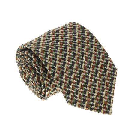 U5089 Green/Yellow Basketweave 100% Silk Tie