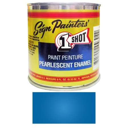 - 1/2 Pint 1 Shot PEARLESCENT PROCESS BLUE Paint Lettering Enamel for Pinstriping