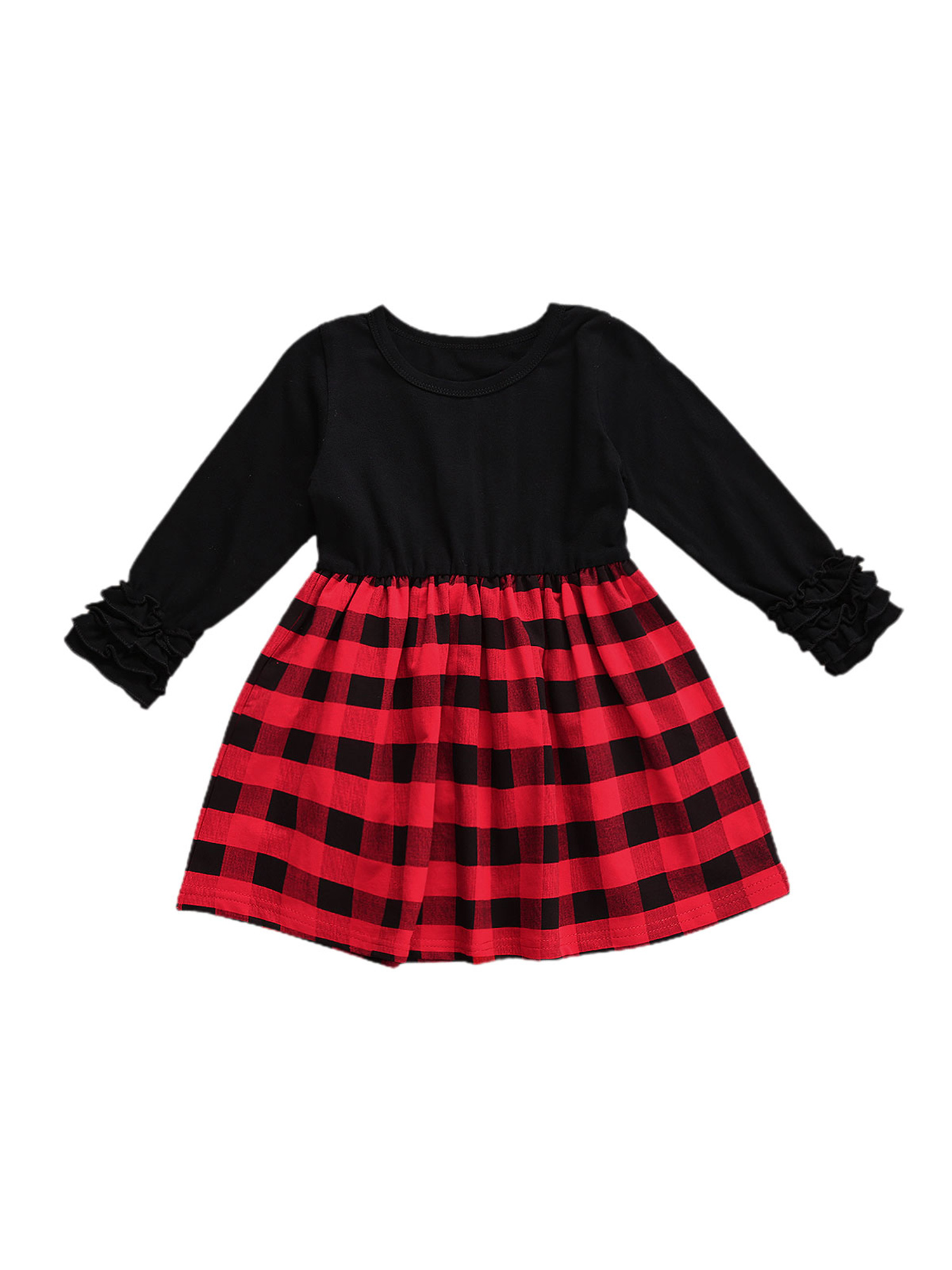 Carolilly Baby Christmas Outfits, Red Plaid Splicing O-Neck Long Pleated  Sleeves Dress for Toddlers, Girls, 6 Months to 6 Years
